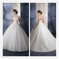 Luxurious Organza Soft Flowers Accented Neckline Ball Gown Wedding Dress