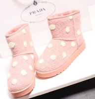 2014 new winter boots snow boots Women warm wave dot sleeve casual cotton shoes