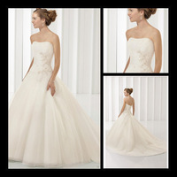 2013 new arrival elegant ball gown lace appliques on organza wedding dress supplier jj0228