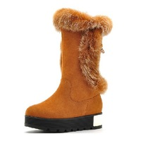 New arrival Scrub snow boots genuine leather rabbit fur boots platform medium-leg cotton-padded shoes thermal boots