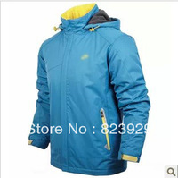 Free shipping New 2013 autumn winter thickening men's hooded reversible sports jacket Windbreaker casual jacket