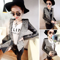 2014 New autumn and winter fashion leather patchwork jacket coat women brand design Motorcycle jackets blazer suit Free shipping