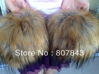 NEW 2013  fahion  Luxury Women Faux Raccoon Fur Short Winter Wrist Arm Warmer Cuff Wristband