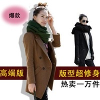 2013 autumn and winter women slim medium-long woolen outerwear plus size suit wool coat
