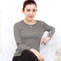 Blue autumn women's mulberry silk sweater black and white stripe o-neck long-sleeve T-shirt basic shirt