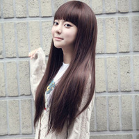 New sweet STYLE Fashion women's Girl  Long straight wigs Full Wig Synthetic Neat bang Wig #L04034