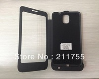 Free Shipping 4200MAH Power Bank Back Case For Samsung Galaxy Note3 With Leather Case,Black And White Color For Choose