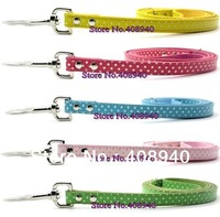 Free Shipping Polka Dots Dog Leash PU Leather 5 Different Color.Fashion Supplies Pet Product  (Width:1.5CM. Length:120CM)