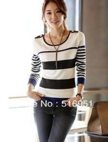 Free Shipping Women Cultivate One's Morality Stripes Long-sleeved Sweater Big Yards Blue And Red Size S M L XL