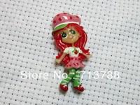 flat back resin  Strawberry Girl for phone decoration 20pcs/lot