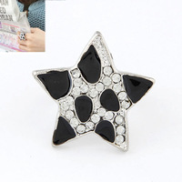 Min Order $10(Mix Items)European Fashion Bijoux Bling Luxury Lucky Black White Star Silver Color Metal Open Novelty Women Ring