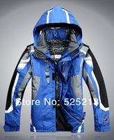 New men's outdoor ski wear thick quilted men's outdoor jackets hit the color mountaineering jacket Free Shipping