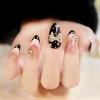 New 2014 Japanese Style black and white stiletto fake nail 3d French false nails,24 pcs, free shipping