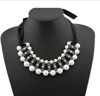 Free Shipping Fashion Pearl Necklace Bohemian Handmade Retro  Pearl Black Silk Short Necklace Europe Style Brand
