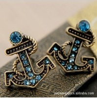 E184  Free Shipping Wholesales New Hot High Fashion Vintage Blue Anchor Stud Earrings Jewelry