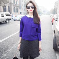 zd09067 New Arrival Korea Style 2014 Fashion Pocket O-neck Lady Wool Pullover Free Shipping
