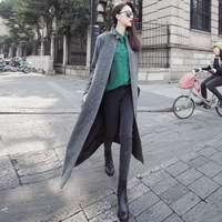 zd09084 New Arrival Vintage Herringbone Woolen Grey Long wool coat women Free Shipping