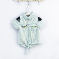 korean children clothing girl's fashion children outerwear kids denim lace rhinestone jean jacket & crochet lace coats