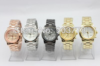 100pcs/lot High quality popular sales alloy metal band and case Geneva logo calendar watches,with calendar,quartz movement