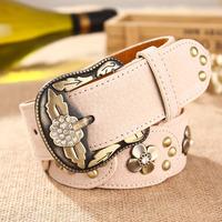 women's pigskin belt rhinestone pin buckle genuine leather strap fashion rivet belt