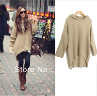 Autumn Winter Women Irregular Hem Loose Hooded Sweater Dress Fashion Long Sleeve Outwear Knitting Coat Pullover Women's CMS-0276