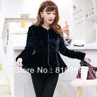 A785 free shipping 2014 women new fashion black white long sleeve o neck short faux fur coat autumn winter peplum ruffles coat