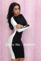 2014 PRESALE NEWEST SEXY WOMEN CLUB WEAR CUT OUT BACK BODYCON BANDAGE PARTY DRESS LONG SLEEVE BLACK WHITE COLOR MIXED SIZE S M L