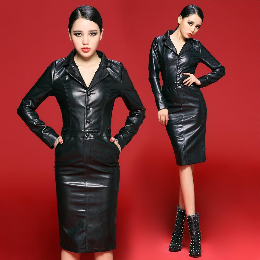 Bossy lady2013 fashion suit collar slim medium long one piece dress