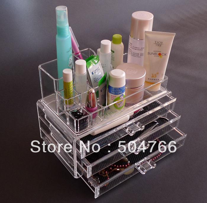 Acrylic Makeup Organizer Crystal Transparent Jewelry Box/Jewelry Organizer Clear Make Up Organizer Free Shipping AC03-45D(China (Mainland))