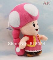 "100pcs/lot EMS Free Shipping Super Mario Bros Mushroom Toadette Plush Toy Soft Stuffed Doll 7"" 17CM SMPD167"
