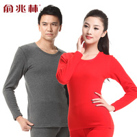 Quality super warm hot spot velvet thickening plus velvet thermal underwear o-neck set male women's