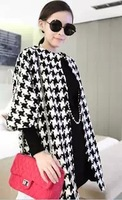 2013 Free Shipping Wholesale Autumn and Winter Occident BRAND Temperament Houndstooth Long Sections Woolen Coat