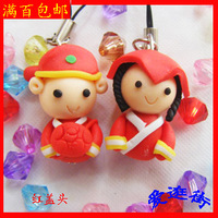 Polymer clay lovers mobile phone chain mobile phone pendant car backpack accessories key rope pottery dolls accessories