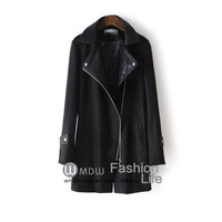 Wool wool coat fashion autumn 2013 leather patchwork medium-long woolen outerwear female zsw017