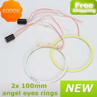 2x New Led Bright Angel Light White angel Ring Headlight Bulb 100mm Car Eyes COB Rings Halo Bulbs free shipping