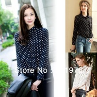 CC576# New 2013 Hot Lady Vintage Polka Dot  print Long Sleeve Lapel Shirt Chiffon Blouse