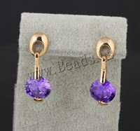 Free shipping!!!Brass Drop Earring,Exquisite, 18K gold plated, with cubic zirconia, nickel, lead & cadmium free, 23mm