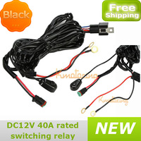 New Universal Holder Wiring Loom Harness Kit With Fuse Relay Fog Wire Cables Car 40A Switch relay suit Work Driving Light