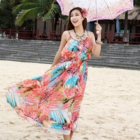 2014 Top Fasion New Arrival Winter Dress Shipping Sweet Beach Chiffon One-piece Dress Big Mopping The Floor Full Spaghetti Strap