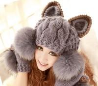 2014 New Winter Knitted Wool Women Hat  Sets Korean Devil Horns Ball Animal Fur Hat For Women Cap Christmas Caps[240613]