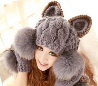 2014 New Winter Knitted Wool Women Hat  Sets Korean Devil Horns Ball Animal Fur Hat For Women Cap Christmas Caps[240613]