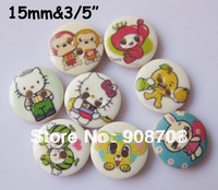 Free shipping Fashion Cute Mixed Design 8 Patterns Wood Button 150PCS Clothing Accessories