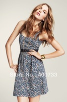 New High Street Fashion Sleeveless One Piece Floral Print Sleeveless Jersey Autumn Winter Women's Dresses 2014 D018