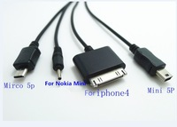 4 in 1 USB Charger Charge Cable For Iphone 4 4S Micro Mic 5 pin Mini 5 pin For Nokia Mini Free Shipping Via Black White 100p