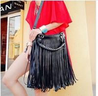 FreeShippingHot new handbags large fringed bag new big bag tassel bag leisure bag pu13121105