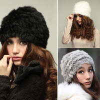 Watching!! free shipping!!!Fluffy Women Russian Cossack Rabbit Fur Knitted Hat Head Ski Cap Winter Warm NEW[cc-121]