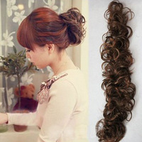 New Fashion Women Lady Clip-on Dish Hair Bun Tray Ponytail Extension Hairpiece  Scrunchie Wig caterpillar clockwork curl #L04079