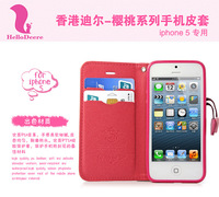2013 Newest Deere PU leather flip case cherry series for iphone 5 5S 5G with card slots support stand phone cases (H182) .