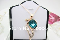 Italina Rigant brand wholesale fashion simple and elegant temperament lovely crystal sapphire necklace female bow 76865