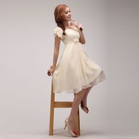 Bride high waist of the small short skirt slit neckline plus size bridesmaid dress short-sleeve dress short design formal dress
